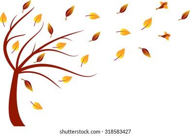 Fall Tree Vector, Autumn Tree Illustration
