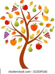 Fall Tree Vector, Fruit Tree, Vegetable Tree