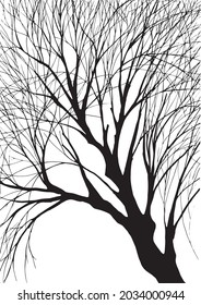 Fall tree without leafs black and white tattoo design art illustration