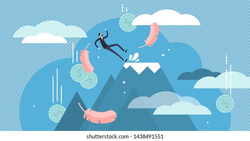 Fall vector illustration. Flat tiny economical business fail persons concept. Bankruptcy warning and money loss accident. Unexpected company financial problem mistake. Wet and slippery floor surface.