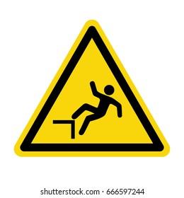 Fall warning sign. symbol, illustration