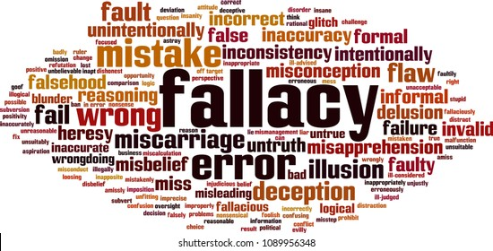 Fallacy word cloud concept. Vector illustration