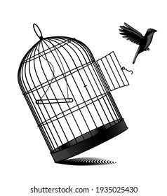 Fallen birdcage and a black bird flying away isolated on white. Vintage engraving black and white stylized drawing. Vector illustration