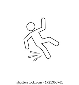 Fallen person vector line icon isolated on white background