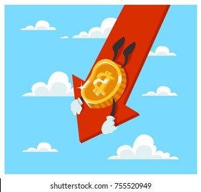The Fallen In Price Bitcoin Flying Down On Red Arrow. Bankrupt Bitcoin. Cartoon Style Vector Illustration