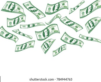 Falling 100 dollar bills. concept of winning the lottery - bingo !. flat vector illustration isolated on white background