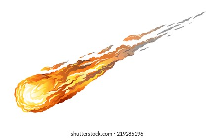 Falling asteroid with long fiery tail, isolated on white