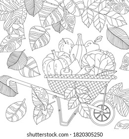 falling autumn fancy leaves, checkered wheelbarrow with fresh vegetables and fruits for your coloring book
