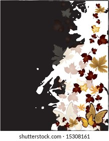 Falling Autumn leaves and butterfly background vector illustration