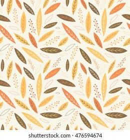 Falling autumn leaves seamless pattern