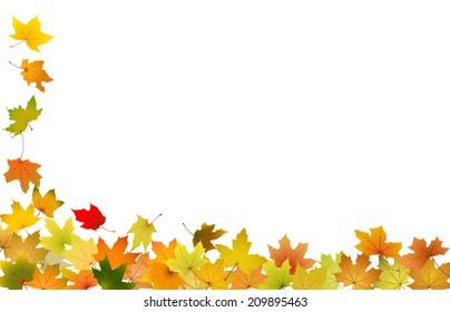 Falling autumn leaves, vector illustration.