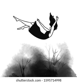 Falling backwards woman in dress. Depression disorder, helplessness concept. Feelings of sadness and loss. Nightmare of anxious person. Fear illustration with black ink stain.