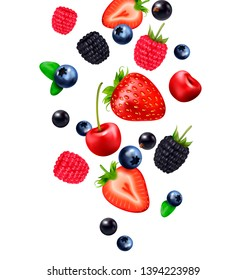 Falling berry fruit realistic composition with images of falling berries and strawberry slices on blank background vector illustration