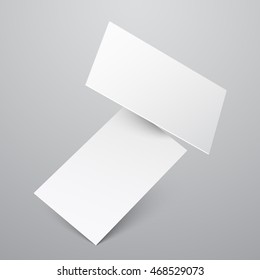 Falling blank white business cards template. Paper sheet, empty message. Vector illustration