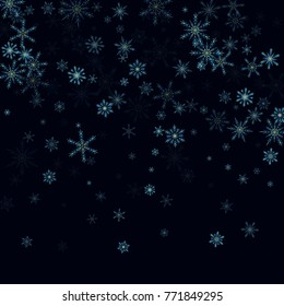 Falling blue christmas snow on black. Vector New Year snowflake abstract background. Glitter confetti. Snowflakes decoration effect. Winter holiday print. Snowfall texture for poster, banner, card.
