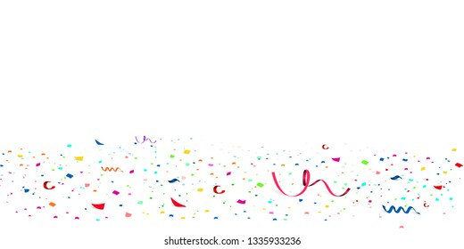 Falling bright Glitter confetti, stars celebration, serpentine. Colorful confetti paper scatter flying on the floor. New year, birthday, valentines day design element. vector illustration.