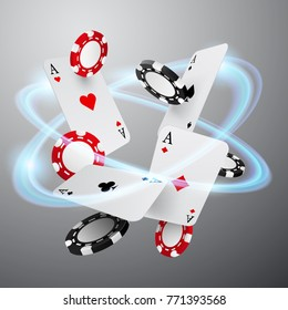 Falling casino chips and aces with abstract glowing effect, vector illustration, isolated on white