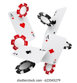 Falling casino chips and aces, vector illustration, isolated on white