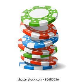 Falling casino chips. Vector.