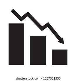 falling chart icon on white background. flat style. falling chart icon for your web site design, logo, app, UI. falling arrow chart symbol. Declining bar chart sign.