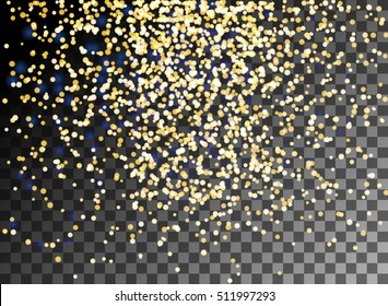 Falling Christmas shining gold glitter particles on transparent background. Snow effect for greeting card. Sparkling texture. Star dust sparks. Snowflakes, snowfall, snowflake. Vector illustration