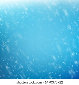 Falling Christmas shining snow on blue sky. Snowstorm or blizzard. Heavy snowfall. EPS 10
