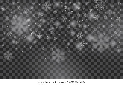 Falling Christmas Shining transparent beautiful snow isolated on transparent background. Snowflakes, snowfall. snowflake vector. Vector illustration.
