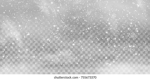 Falling Christmas Shining transparent beautiful, little snow isolated on transparent background. Snow flakes, snow background. Vector heavy snowfall, snowflakes in different shapes and forms.