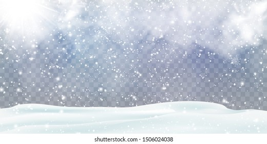 Falling Christmas snow decoration with snowdrifts, snow-covered hills, shiny sun isolated. Grey shiny poster with winter landscape, wind, blizzard. Winter Holidays Storm Background. Heavy snowfall.