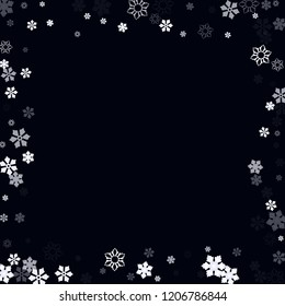 Falling christmas snow on black. Vector New Year snowflake abstract background. White glitter confetti. Snowflakes decoration effect. Winter holiday print. Snowfall texture for poster, banner, card.