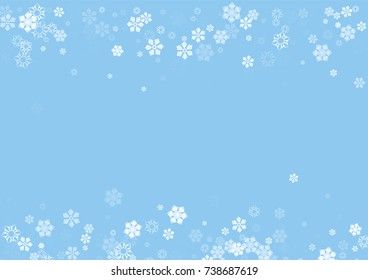 Falling christmas snow on blue. Vector New Year snowflake abstract background. White snowfalls. Snowflakes decoration effect. Winter holiday print. Snowfall texture for poster, banner, card.