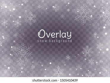 Falling Christmas snow. Realistic falling snowflakes isolated on transparent background. Vector heavy snowfall in different shapes and forms. Place for your text