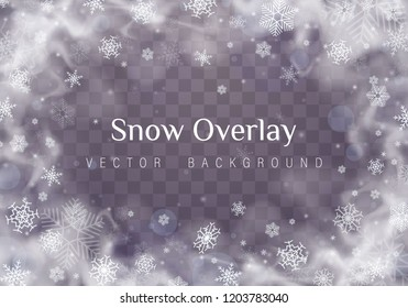 Falling Christmas snow. Snowflakes isolated on transparent background. Vector heavy snowfall, snowflakes in different shapes and forms.