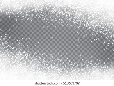 Falling Christmas snow. Snowflakes isolated on transparent background.