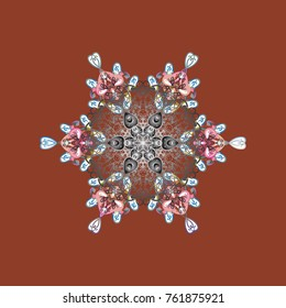Falling Christmas stylized snowflakes. Snowflakes, snowfall. Illustration. Beautiful vector brown, gray and white snowflakes isolated on a colorful background.