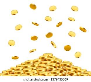 Falling coins, falling money, flying gold coins, golden rain. Jackpot or success concept. Modern background. Vector illustration