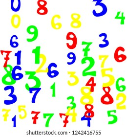 Falling colorful numbers on white background. Abstract colorful background for banner or poster. Pattern of randomly distributed numbers from zero to nine in color.
