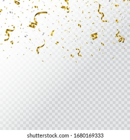 Falling confetti isolated on a transparent background. Vector template for your holiday, party, festival or birthday.