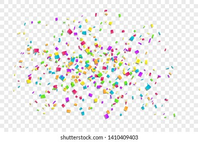 Falling confetti isolated white transparent background. Abstract design element festive party, Christmas holiday, New Year celebration. Bright birthday decoration, paper tinsel Vector illustration