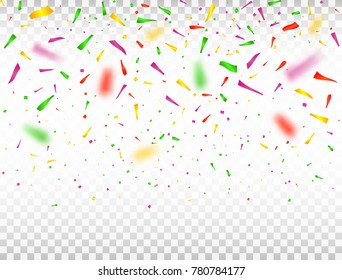 Falling confetti pieces. Defocused colorful confetti. Celebration background Vector illustration.