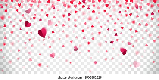 falling confetti of red and pink hearts on a transparent background
