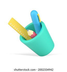Falling cup with 3d stationery. Blue pen with yellow ruler and pink sharpened pencil. Convenient placement in green cup of items with quick creative application. Vector realistic icon template