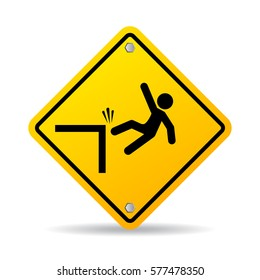Falling danger vector sign on white background. Fall down hazard vector eps icon.