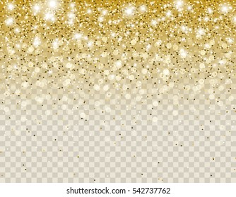Falling dark gold glitter particles and lights effect for luxury greeting rich card. Vector  golden sparkling texture for brightly design. Star dust sparks in explosion on transparent background.