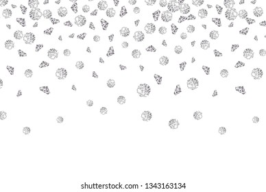 Falling diamond background vector gem on white. Jewelry luxury pattern backdrop isolated crystal stone.