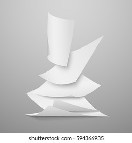Falling document blank white papers, pages vector illustration