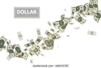 Falling Dollars. Wealth and Success Background. Money. Vector illustration