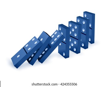Falling dominoes. Blue Icon game of dominoes. Board game Domino. icon vector for web.