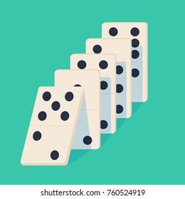 Falling dominoes. Concept of Domino effect. Vector illustration of projection isolated on background. White Icon game of dominoes. Board game Domino for web.