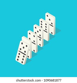 Falling dominoes. Domino effect, chain reaction and disaster business vector concept. Action and reaction to balance business, chain row, disaster strategy illustration